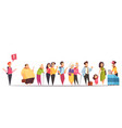 queue people characters vector image vector image