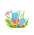 rabbit cute family reading a book in forest vector image vector image