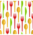 realistic detailed 3d plastic cutlery seamless vector image vector image