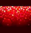 red background with hearts and bokeh lights vector image vector image