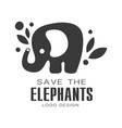 save elephants logo design protection wild vector image