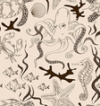 seamless pattern sea animals vector image vector image