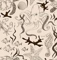 seamless pattern sea animals vector image