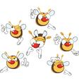 set of cute cartoon yellow bees vector image