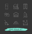set of design icons line style symbols with vector image vector image