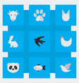 set of simple animals icons elements sparrow cock vector image