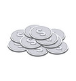 silver coins symbol flat isometric icon or logo vector image