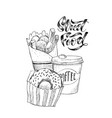 sketch hand drawn street fast food vector image vector image