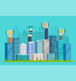 smart city with skyscrapers and hands vector image