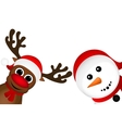 Snowman and Reindeer peeking sideways on a white vector image vector image