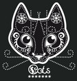 stylized black and white patterned cat vector image vector image