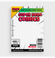 super comics cover page template design background vector image