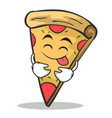 tongue out pizza character cartoon vector image vector image