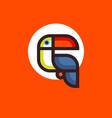 toucan bird logo holds tropic jungle vector image