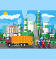 urban cityscape with garbage car and factory vector image