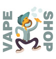 vape shop logo with boy flat character vector image vector image