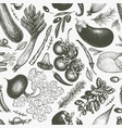 vegetables hand drawn seamless pattern retro vector image