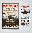 wanderlust logo emblem and brochure template vector image vector image