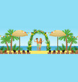 wedding ceremony on the tropical beach newlyweds vector image