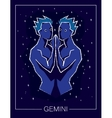 Zodiac sign Gemini on night starry sky background vector image vector image