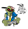 Zombie Gamer with knife vector image vector image