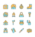 Line flat icons of camping equipment hiking vector image