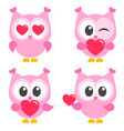 set of cute pink owls with hearts vector image