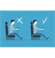 Correct and Incorrect Driving Position Flat Set vector image