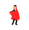 smiling vampire character in red cape count vector image