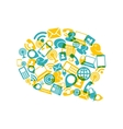 Social media bubble shape with communication icons vector image