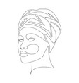african woman in turban portrait line drawing vector image vector image