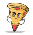 angry face pizza character cartoon vector image vector image
