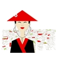 Asian woman on city background for your design vector image