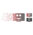 broken pixel halftone display happy smiley icon vector image