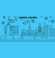 canada halifax winter holidays skyline merry vector image vector image