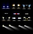 car powerful lights in darkness realistic vector image