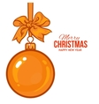 Christmas balls with gold ribbon and bows vector image