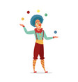 circus clown juggling with colorful balls isolated vector image vector image