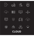 cloud editable line icons set on black vector image vector image