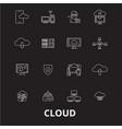 cloud editable line icons set on black vector image