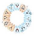 comic teeth around kawaii characters vector image