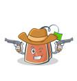 cowboy tea bag character cartoon vector image vector image