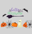 creepy halloween poster with cute spook vector image