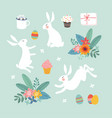 cute easter set of white rabbits colorful easter vector image