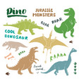dino doodles set cute dinosaurs sketch and vector image vector image