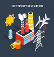 electricity isometric colored composition vector image vector image