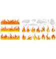 fire flame smoke icon set vector image