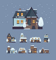 frozen houses christmas winter buildings with vector image vector image