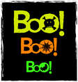 halloween boo neon graphics on a black background vector image vector image
