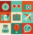icons and concepts in flat style - travel and vaca vector image vector image